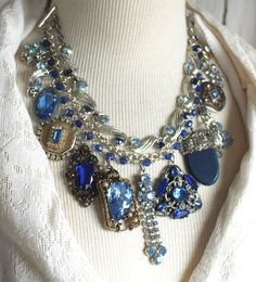 Statement Assemblage Necklace Bridal Blue wedding by OldNouveau
