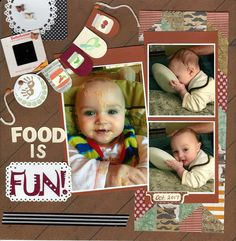 Food is Fun Baby boy eating messy food licking plate baby food jars banner scrapbook layout scrapbook ideas Baby Girl Scrapbook, Baby Scrapbook Pages, Baby Born Congratulations, Baby Boy Baptism Outfit, Fun Baby Announcement, Baby First Foods, Baby Girl Nursery Themes, Baby Eating, Baby Album