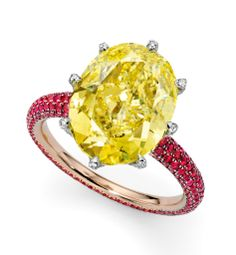 James de Givenchy for Sotheby's Diamonds, a candy shank ring using a fancy intense yellow diamond and a red spinel shank.