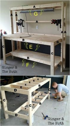 Woodworking bench how to build _ woodworking bench garage workbench, woodworking bench plans, woodworking bench diy, woodworking bench traditional, woodworking bench how to b bench plans work stations Woodworking Bench How To Build Woodworking Woodworking Bench Plans, Easy Woodworking Projects, Wood Plans, Woodworking Furniture, Wood Furniture, Woodworking Classes, Woodworking Machinery, Woodworking Basics, Woodworking Chisels