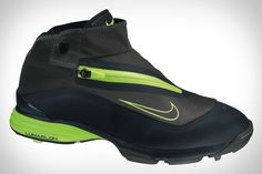 Nike Lunar Bandon Golf Shoe |  Designed to work in concert with rain pants, the Bandon features a higher silhouette than traditional golf shoes, booty tongue construction to catch water that seeps in when putting them on, a speed lacing system with toggle, integrated traction on the outsole to eliminate clogging and provide maximum stability, and Lunarlon cushioning to keep you comfortable, even if the weather's not. ($180)