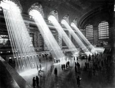 Grand Central Terminal, NYC, 1929. The sun can't shine through like that now due to the surrounding tall buildings.