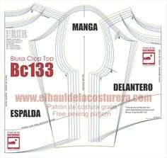 Blusa BC133 Crop Top Manga Larga   EL BAÚL DE LAS COSTURERAS