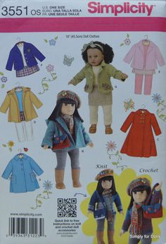 "Simplicity Pattern 1713 Outfits fits 18 inch dolls 18/"" play clothes"