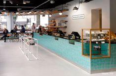 Dutch creative agency …,staat has designed the interior and branding for alternative supermarket Bilder & De Clercq in Amsterdam. Shop Interior Design, Cafe Design, Retail Design, Store Design, Restaurant Design, Restaurant Bar, Cafe Counter, Design Commercial, Le Shop