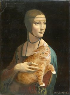 Lady with an Ermine by Leonardo da Vinci Artist Inserts Her Fat Cat Into Famous Classical Paintings Russian artist Svetlana Petrova photoshops her awesome cat named Zarathustra into iconic and famous works of art… Paintings Famous, Classic Paintings, Famous Art, Old Paintings, I Love Cats, Crazy Cats, Art Ninja, Lady With An Ermine, Johannes Vermeer