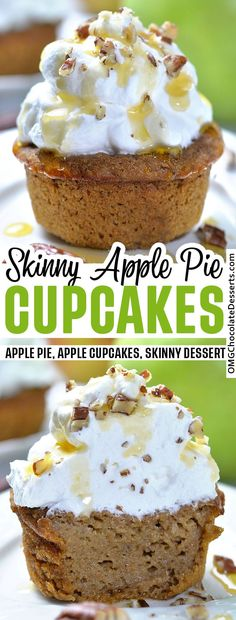 Impossible Skinny Apple Pie Cupcakes are a healthy, easy apple dessert recipe for fall baking season. If you're looking for a treat with low calories, you've found yourself a keeper! #skinny #apple #cupcakes