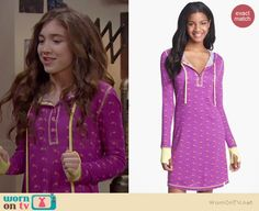Riley's purple hooded sleepshirt on Girl Meets World.  Outfit Details: http://wornontv.net/37594/ #GirlMeetsWorld