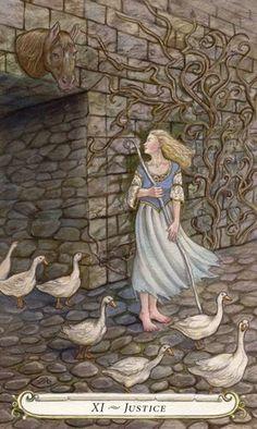 Justice - The Fairy Tale Tarot by Lisa Hunt. I need this tarot set! Illustrations, Illustration Art, Botanical Illustration, Diy Tarot Cards, Justice Tarot, Brothers Grimm Fairy Tales, Fairytale Art, Dream Art, Major Arcana