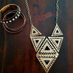 x3 jewelry accessories x1 black studded bangle x1 entangled rose gold bangle x1 geometric black jeweled triangle statement necklace Forever 21 Jewelry