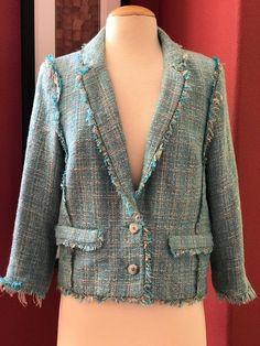 MICHAEL KORS Tweed Fringe Jacket Blazer Size 10 Turquiose Blue Metallic #MichaelKors #Blazer