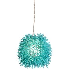 "Varaluz Urchin 9"" Wide Aqua Velvet Mini Pendant Light ($319) ❤ liked on Polyvore featuring home, lighting, ceiling lights, decor, lamps, blue, chandeliers, mini chandeliers, modern ceiling lights and mini pendant lights"