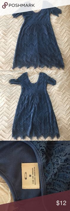 Pins and Needles Blue Lace dress This muted-blue dress is so great on. The lace detail is beautiful, and it can be worn to daytime or evening events. Only worn once! Urban Outfitters Dresses