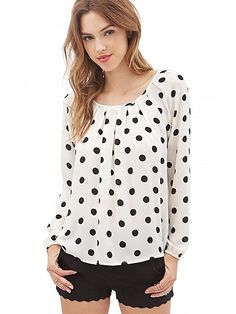 FOREVER 21 Polka Dot Bow Blouse Cream/Black from Forever Saved to Shop more products from Forever 21 on Wanelo. Bow Blouse, Polka Dot Blouse, Polka Dots, Peasant Blouse, Collar Blouse, White Chiffon, Chiffon Tops, Print Chiffon, Chiffon Shirt