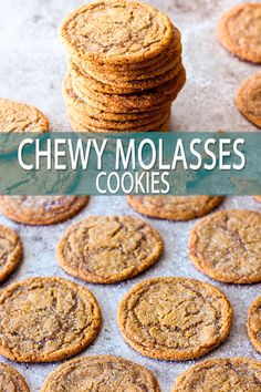 These old-fashioned chewy molasses cookies have the ultimate chew factor! The cookies are filled with warming spices and bake up nice and thin with an incredibly chewy texture. Molasses Recipes, Ginger Molasses Cookies, Molasses Cookie Recipe, Chai Cookies Recipe, Chewy Oatmeal Cookies, Old Fashioned Molasses Cookies, Cookies Snickerdoodle, Chewy Gingerbread Cookies, Butterscotch Cookies