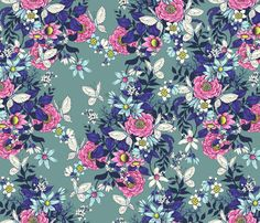 Thea's Garden - teal fabric by celandine on Spoonflower - custom fabric