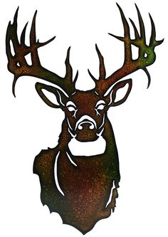 This Metal Deer Head is made with precision laser technology for a truly unique look. The brown and black splattered paint provides a rustic feel. This is a great gift idea for anyone who loves to hun Hirsch Silhouette, Deer Head Silhouette, Deer Stencil, Buck Deer, Laser Cut Metal, Laser Cutting, Scroll Saw Patterns, Art Patterns, Cross Patterns
