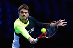 Stanislas Wawrinka of Switzerland plays a backhand volley in practice during the Barclays ATP World Tour Finals tennis previews at the O2 Arena on November 8, 2014 in London, England.