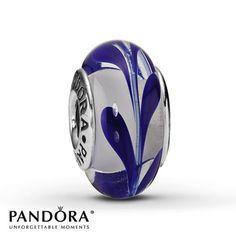 Pandora Blue Swirl Glass Charm