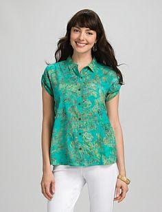 Batik Button-Down Shirt | Dressbarn