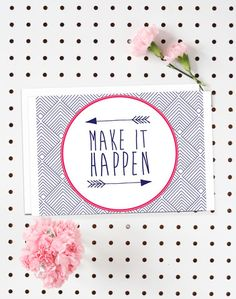 4-Pack of Flat Notecards - Stationery With Envelopes - Make It Happen