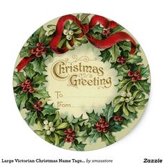 Large Victorian Christmas Name Tags for Gifts Classic Round Sticker