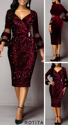 Sequin Detail Mesh Panel Flare Sleeve Sheath Dress - Women's style: Patterns of sustainability Elegant Dresses, Sexy Dresses, Xmas Dresses, Evening Dresses, Casual Dresses, African Print Dress Designs, Dinner Gowns, Lace Dress Styles, Maxi Dress With Sleeves