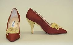 Manolo Blahnik  Pumps - British late 1980s. Linen and leather.  The Met