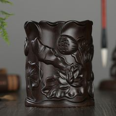 Carved style pen holder crafts Decoration  lotus pen holder  cosmetics storage tube pen container(A002)