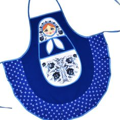 Blue Kitchen Apron - Russian Doll - $23.99 This neat blue and white Gzhel inspired Russian apron (measuring about 28\