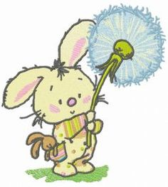 Bunny with dandelion machine embroidery design. Machine embroidery design. www.embroideres.com