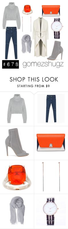 """""""gray, grey, orange, silver, gold"""" by gomezshugz ❤ liked on Polyvore featuring Dion Lee, Gianvito Rossi, Akris, Dutch Basics, Faliero Sarti and Topshop"""