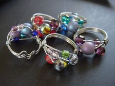 cute beaded rings made with 20 gauge craft wire