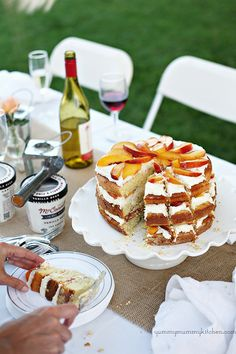 Amaretto Soaked Peach Triple Layer Cake with Mascarpone Frosting.