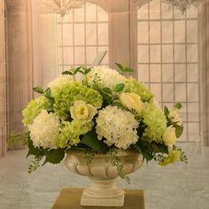 "White and Green Hydrangea Large Silk Flower Arrangement AR350 - Make a simple yet elegant statement with this beautiful white and green hydrangea and ranunculus silk floral arrangement set in a classic Greek-style vase. Measures 17""H x 21"" W x 15""D #silkflowerarragements"