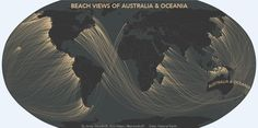A new series of maps created by Massachusetts-based cartographer Andy Woodruff shows what you might see if you could look beyond the horizon and catch a glimpse of the distant coastline. Beyond The Horizon, Beyond The Sea, Sydney Beaches, La Face, Remote Sensing, Atlantic Beach, Australia Map, Out To Sea, Map Art