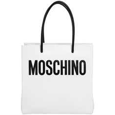 Moschino Women Logo Shopping Nappa Leather Tote ($1,000) ❤ liked on Polyvore featuring bags, handbags, tote bags, moschino, totes, white purse, moschino handbag, pocket tote bag and white tote handbags
