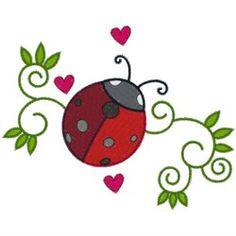 AnnTheGran Free Embroidery Design: Ladybug & Swirls 3.10 inches H x 3.90 inches W