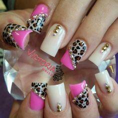 Love this set of acrylics I did! Pink with cheetah nails Gem Nails, Sparkle Nails, Love Nails, Pretty Nails, Cheetah Nails, Pink Nails, Nail Polish Designs, Gel Polish, Cheetah Nail Designs