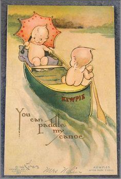 Kewpie Klever Kard Rose O'Neill Kewpies in Canoe, c.1914