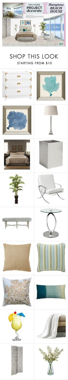 """""""Hanging in the Hamptons Beach House"""" by ealkhaldi ❤ liked on Polyvore featuring interior, interiors, interior design, home, home decor, interior decorating, CO, Bungalow 5, OKA and Fieldcrest"""