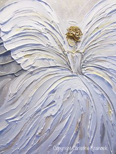 ORIGINAL Abstract Angel Painting White Grey Gold Guardian Angel ...