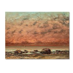'The Black Rocks at Trouville' by Gustave Courbet Painting Print on Canvas