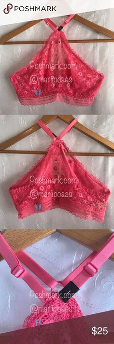 Victoria's Secret Camilla Rose High-Neck Bralette NIB. High-neck lace bralette. Color: Pink / Hot Pink / Coral Size: Large Mesh lining, wired cups. Adjustable straps, pull over style. Soft band. Hand wash. Picture #7 is for reference about fit. The color of the actual bralette I'm selling is a bright Pink, kind of Coral. SOLD OUT AT VS WEBSITE Victoria's Secret Intimates & Sleepwear Bras