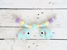 Crochet Stroller Mint Elephants Mobile Teething Pram Toy with Wooden and Crochet Beats
