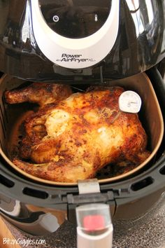 Air Fryer Roast Chicken - Deliciously moist chicken that's flavorful and crispy on the outside! So easy to make in your air fryer in no time at all! Saw on group using my fryer Air Fryer Recipes Potatoes, Air Fryer Oven Recipes, Air Fry Recipes, Cooking Recipes, Cooking Tips, Cooking Classes, Nuwave Air Fryer, Air Fryer Pork Chops, Avocado Toast
