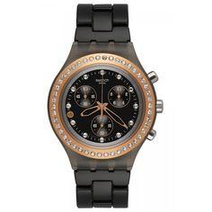 Swatch SVCM4008AG Unisex Irony Diaphane Full-Blooded Black Dial Black Aluminum Strap Chronograph Watch,