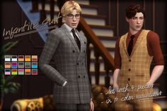 Infantile Suit Set - The Sims 4 Sims 4 Male Clothes, Sims 4 Hair Male, Sims 4 Clothing, Sims 4 Cc Eyes, Sims 4 Mm Cc, Sims 4 Cas, My Sims, Edwardian Hairstyles, Sims 4 Characters