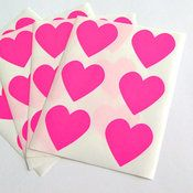 Image of Neon Pink Heart Stickers - Set of 24