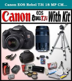 "Canon EOS Rebel T3i 18 MP CMOS Digital SLR Full HD Camera with Advanced Shooters Kit - Package includes: EF-S 18-55mm f/3.5-5.6 IS, EF 75-300mm f/4-5.6 III, 53"" Travel Tripod, Camera and Accessory Bag, 16Gb SD Card and Much More. The REBEL on the Move. Photographers looking for an easy-to-use camera that will help them create their next masterpiece need look no further than the Canon EOS Rebel T3i. The next in a long line of phenomenal compact DSLRs, the EOS Rebel T3i continues the Rebel..."